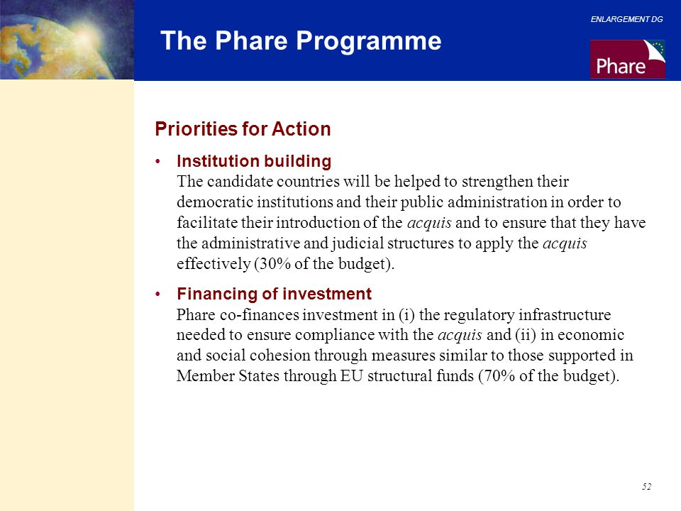 ENLARGEMENT DG 52 The Phare Programme Priorities for Action Institution building The candidate countries will be helped to strengthen their democratic