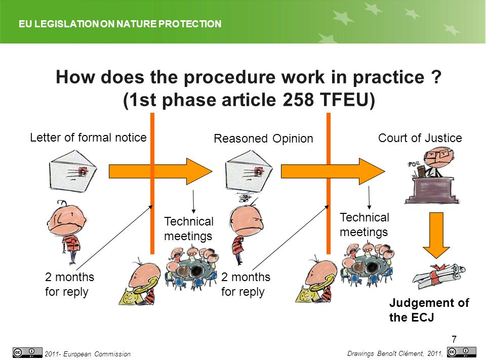 EU LEGISLATION ON NATURE PROTECTION 2011- European Commission 8 Novelty for non communication cases: Art 260(3) TFEU Financial penalties 2 months for reply Technical meetings Reasoned Opinion Court of Justice Judgement of the ECJ Drawings Benoît Clément, 2011, Letter of formal notice