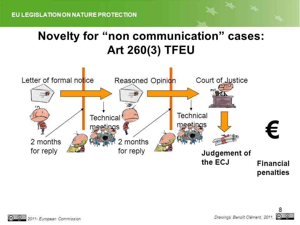 EU LEGISLATION ON NATURE PROTECTION 2011- European Commission 9 The nature of the infringement procedure Tool for elite co-operation Objective law-enforcement tool No need for the Commission to demonstrate a specific motive or interest to bring action before the Court No restrictions on time for bringing an action Channel for individuals to complain: No means to force Commission to initiate procedure (C-247/87 Star Fruit case) Not party to the procedure (T-191/99 – Petrie case) Improvements because of EU Ombudsman