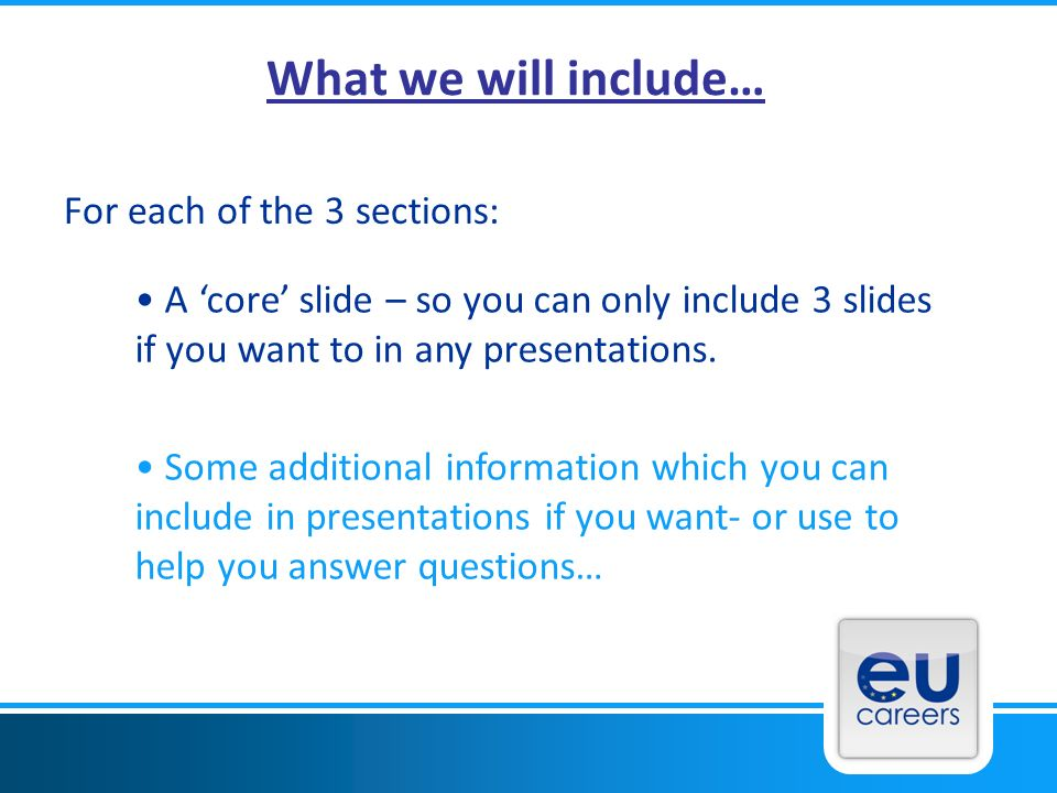 What we will include… For each of the 3 sections: A core slide – so you can only include 3 slides if you want to in any presentations.
