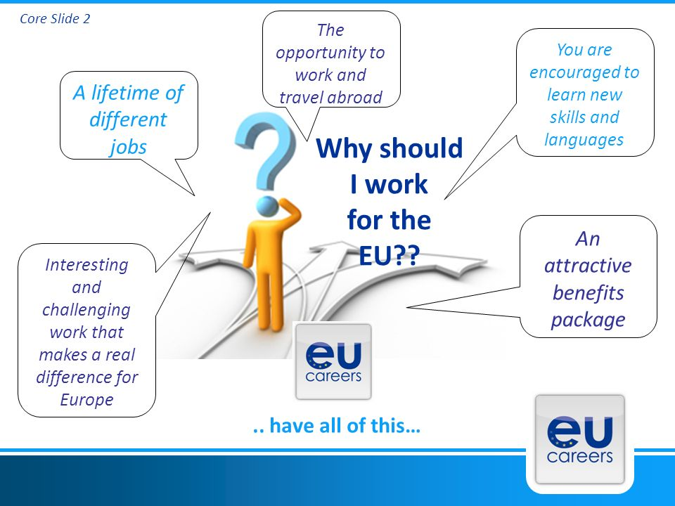 Core Slide 2 Why should I work for the EU .