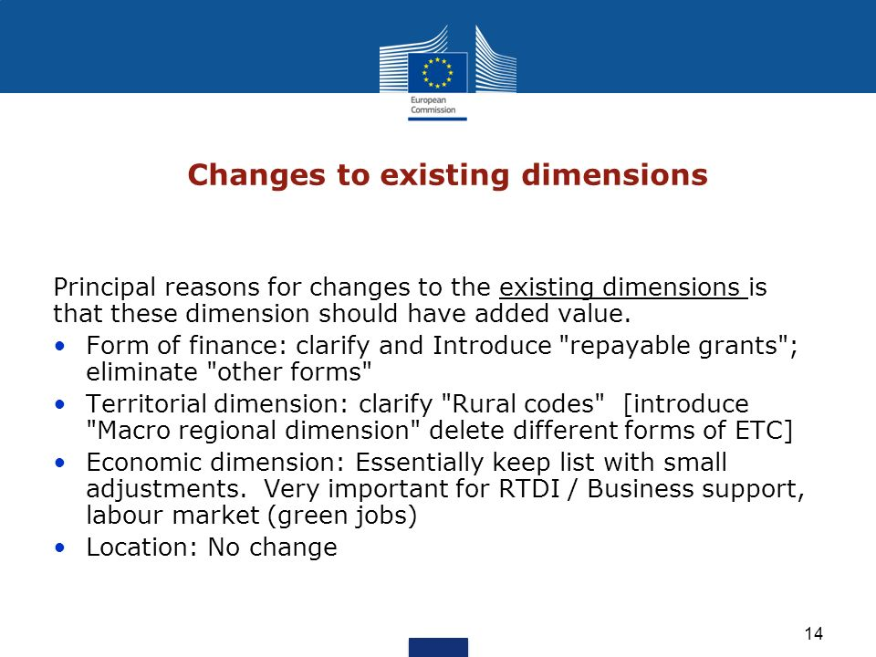 14 Changes to existing dimensions Principal reasons for changes to the existing dimensions is that these dimension should have added value. Form of fi