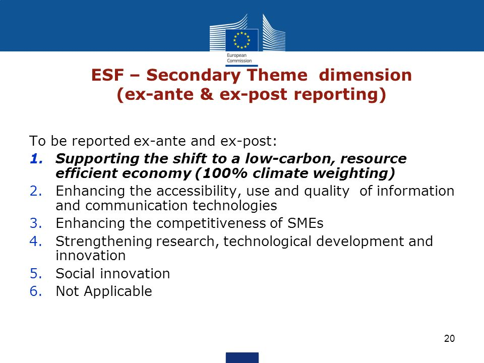 20 ESF – Secondary Theme dimension (ex-ante & ex-post reporting) To be reported ex-ante and ex-post: 1.Supporting the shift to a low-carbon, resource