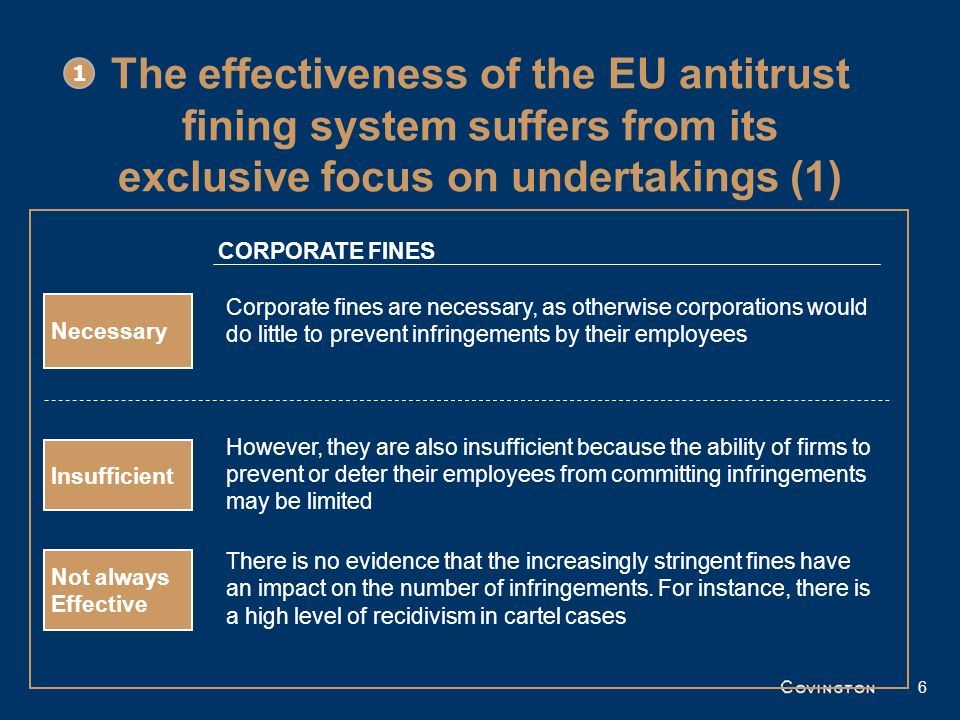 The effectiveness of the EU antitrust fining system suffers from its exclusive focus on undertakings (2) Effective deterrence requires a combination of corporate sanctions and individual penalties: –Sanctions that directly hurt employees are likely to make them more hesitant to breach competition rules –The risks of such sanctions may also lead employees to reject orders to engage in anti-competitive behaviour coming from their superiors and even encourage them to blow the whistle Sanctions on employees could include imprisonment, director disqualifications, personal fines, etc.