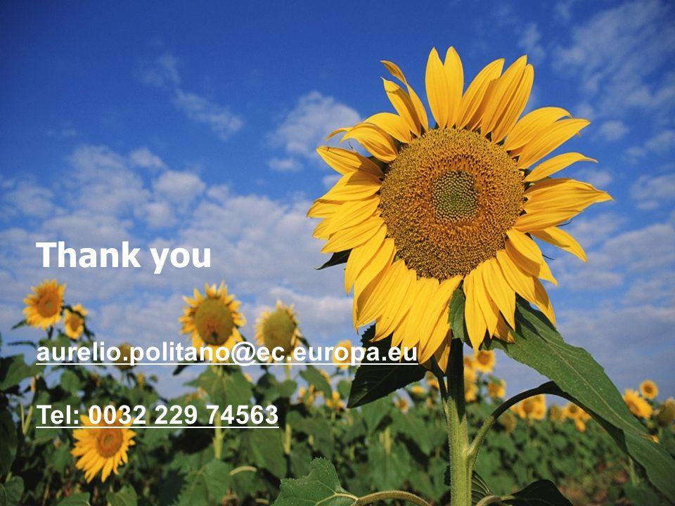 Thank you aurelio.politano@ec.europa.eu Tel: 0032 229 74563