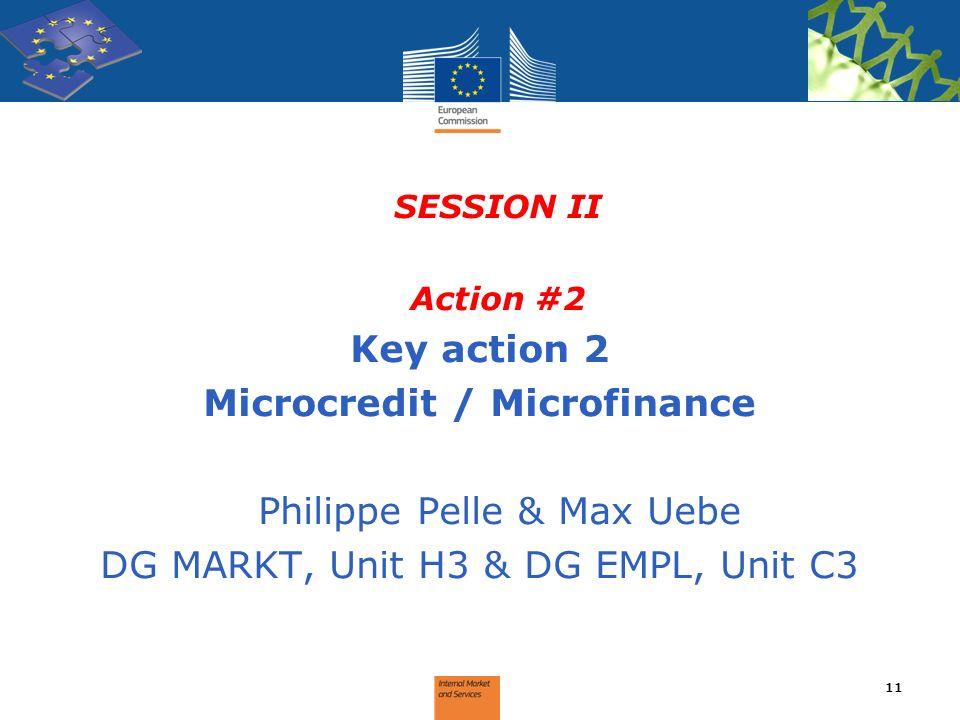SESSION II Action #2 Key action 2 Microcredit / Microfinance Philippe Pelle & Max Uebe DG MARKT, Unit H3 & DG EMPL, Unit C3 11