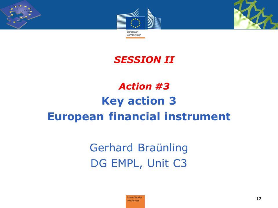 SESSION II Action #3 Key action 3 European financial instrument Gerhard Braünling DG EMPL, Unit C3 12