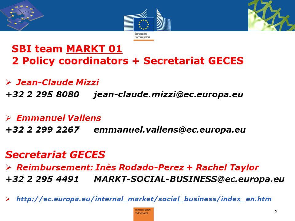SBI team MARKT 01 2 Policy coordinators + Secretariat GECES Jean-Claude Mizzi +32 2 295 8080jean-claude.mizzi@ec.europa.eu Emmanuel Vallens +32 2 299