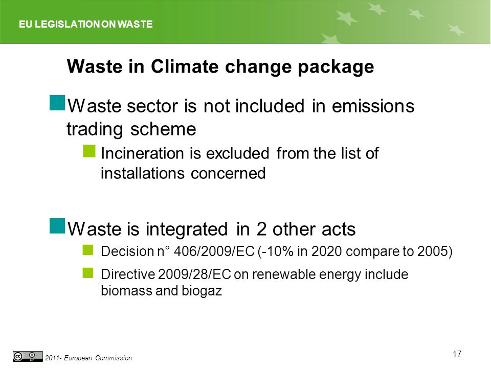 EU LEGISLATION ON WASTE 2011- European Commission Waste in Climate change package Waste sector is not included in emissions trading scheme Incineration is excluded from the list of installations concerned Waste is integrated in 2 other acts Decision n° 406/2009/EC (-10% in 2020 compare to 2005) Directive 2009/28/EC on renewable energy include biomass and biogaz 17
