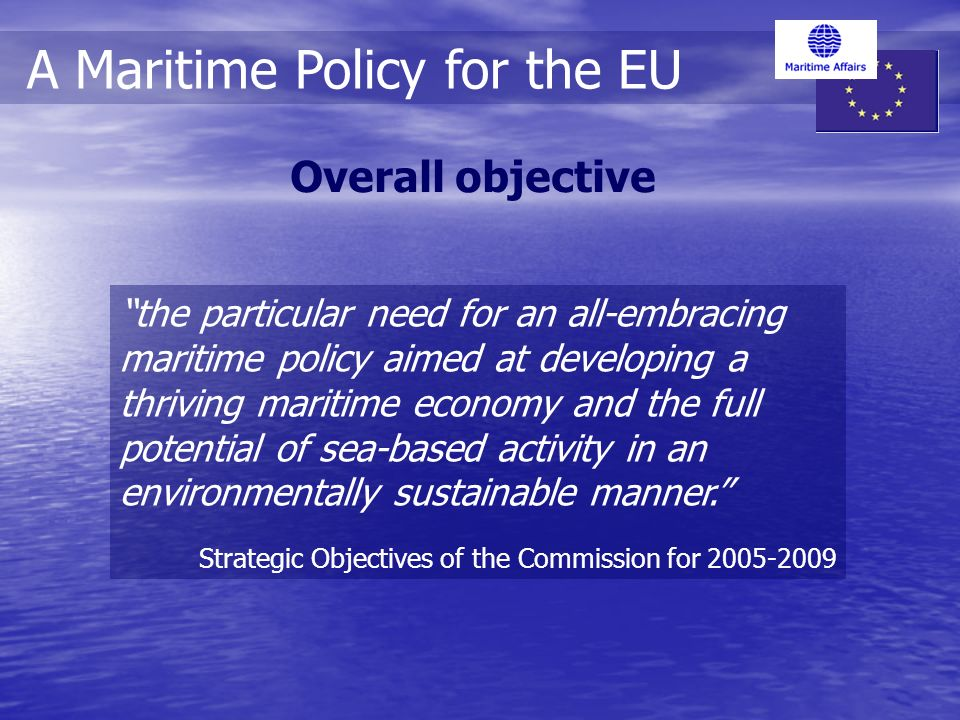 the particular need for an all-embracing maritime policy aimed at developing a thriving maritime economy and the full potential of sea-based activity