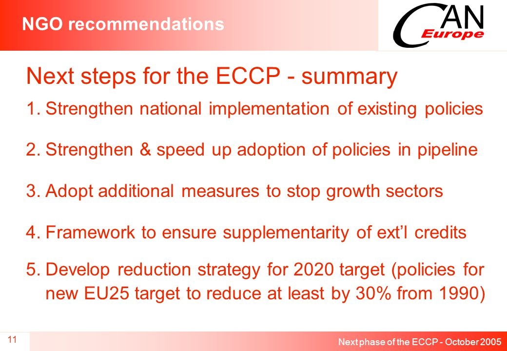 Next phase of the ECCP - October 2005 11 NGO recommendations Next steps for the ECCP - summary 1.Strengthen national implementation of existing policies 2.Strengthen & speed up adoption of policies in pipeline 3.Adopt additional measures to stop growth sectors 4.Framework to ensure supplementarity of extl credits 5.Develop reduction strategy for 2020 target (policies for new EU25 target to reduce at least by 30% from 1990)