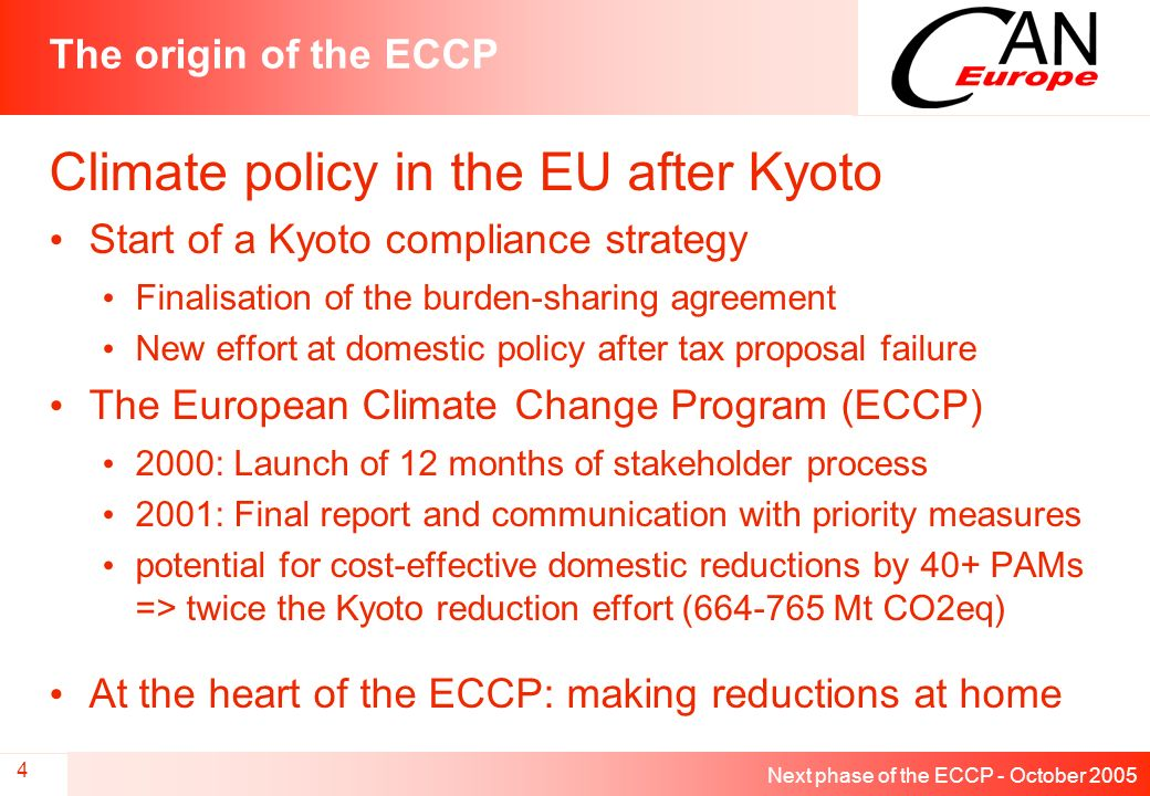 Next phase of the ECCP - October 2005 4 The origin of the ECCP Climate policy in the EU after Kyoto Start of a Kyoto compliance strategy Finalisation