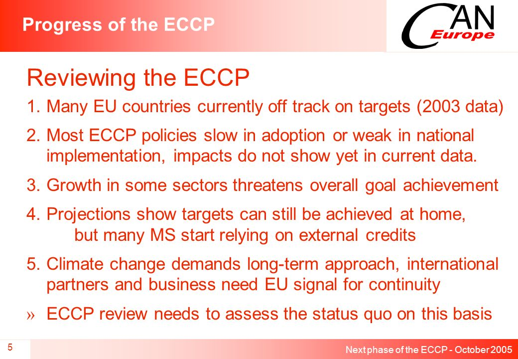 Next phase of the ECCP - October 2005 5 Progress of the ECCP Reviewing the ECCP 1.Many EU countries currently off track on targets (2003 data) 2.Most ECCP policies slow in adoption or weak in national implementation, impacts do not show yet in current data.