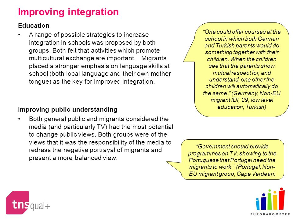 Improving integration Education A range of possible strategies to increase integration in schools was proposed by both groups. Both felt that activiti