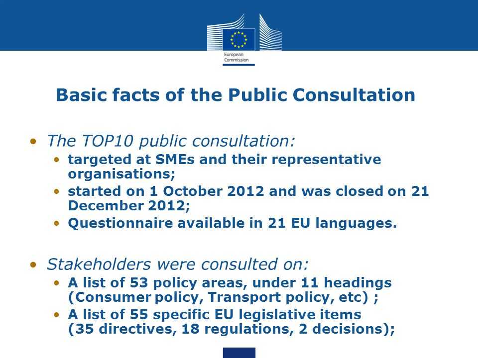 Basic facts of the Public Consultation The TOP10 public consultation: targeted at SMEs and their representative organisations; started on 1 October 20