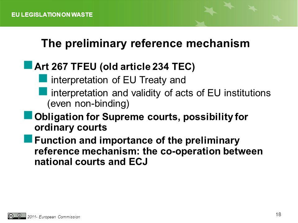 EU LEGISLATION ON WASTE 2011- European Commission 18 The preliminary reference mechanism Art 267 TFEU (old article 234 TEC) interpretation of EU Treat