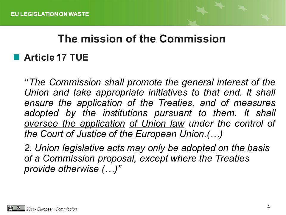 EU LEGISLATION ON WASTE 2011- European Commission 4 The mission of the Commission Article 17 TUE The Commission shall promote the general interest of