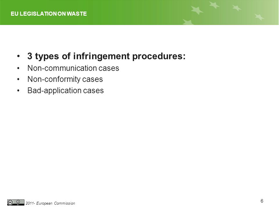 EU LEGISLATION ON WASTE 2011- European Commission 3 types of infringement procedures: Non-communication cases Non-conformity cases Bad-application cas