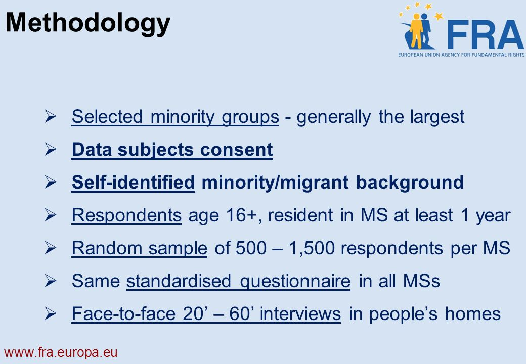 Methodology Selected minority groups - generally the largest Data subjects consent Self-identified minority/migrant background Respondents age 16+, resident in MS at least 1 year Random sample of 500 – 1,500 respondents per MS Same standardised questionnaire in all MSs Face-to-face 20 – 60 interviews in peoples homes