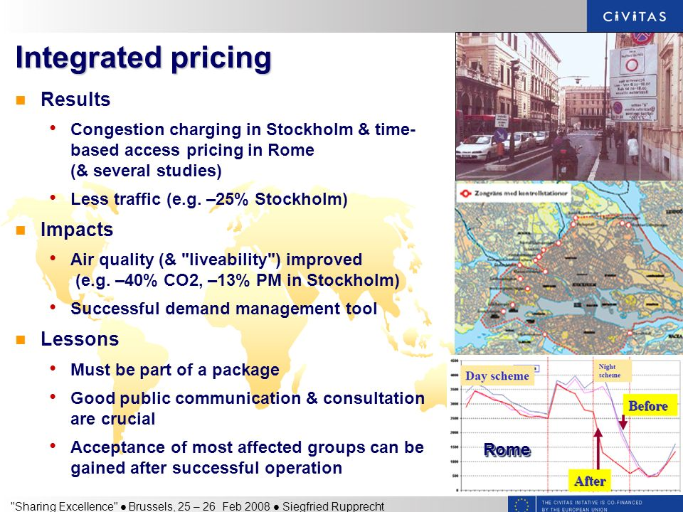 Sharing Excellence Brussels, 25 – 26 Feb 2008 Siegfried Rupprecht Integrated pricing Results Congestion charging in Stockholm & time- based access pricing in Rome (& several studies) Less traffic (e.g.