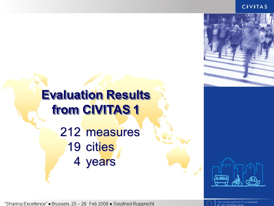 Sharing Excellence Brussels, 25 – 26 Feb 2008 Siegfried Rupprecht 212measures 19cities 4years Evaluation Results from CIVITAS 1