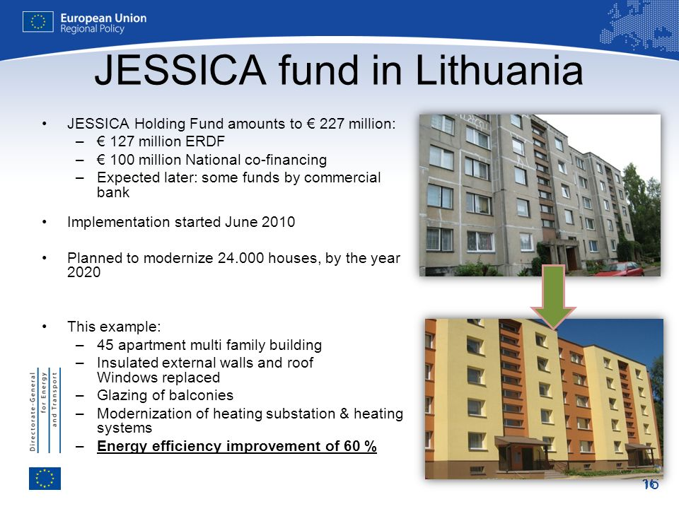 16 JESSICA fund in Lithuania JESSICA Holding Fund amounts to 227 million: – 127 million ERDF – 100 million National co-financing –Expected later: some