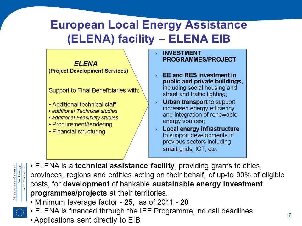 17 European Local Energy Assistance (ELENA) facility – ELENA EIB ELENA is a technical assistance facility, providing grants to cities, provinces, regi