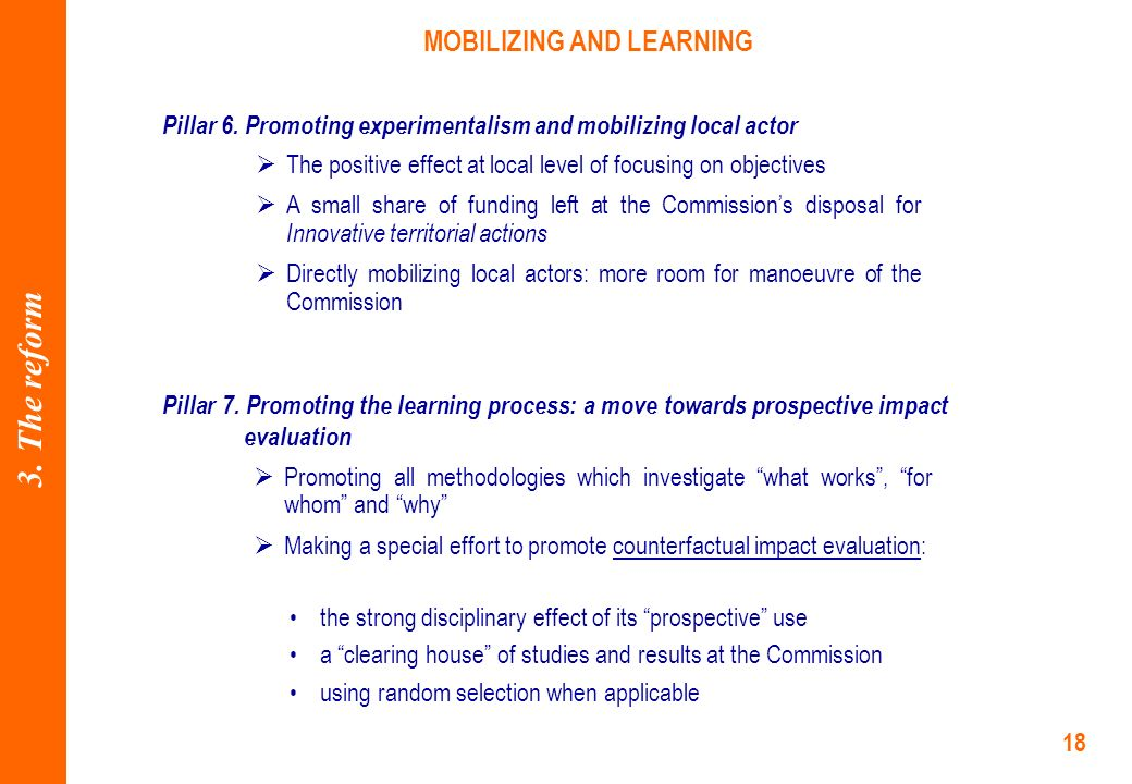 18 MOBILIZING AND LEARNING Pillar 6.