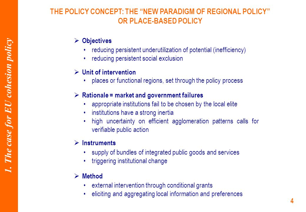 4 THE POLICY CONCEPT: THE NEW PARADIGM OF REGIONAL POLICY OR PLACE-BASED POLICY 1.