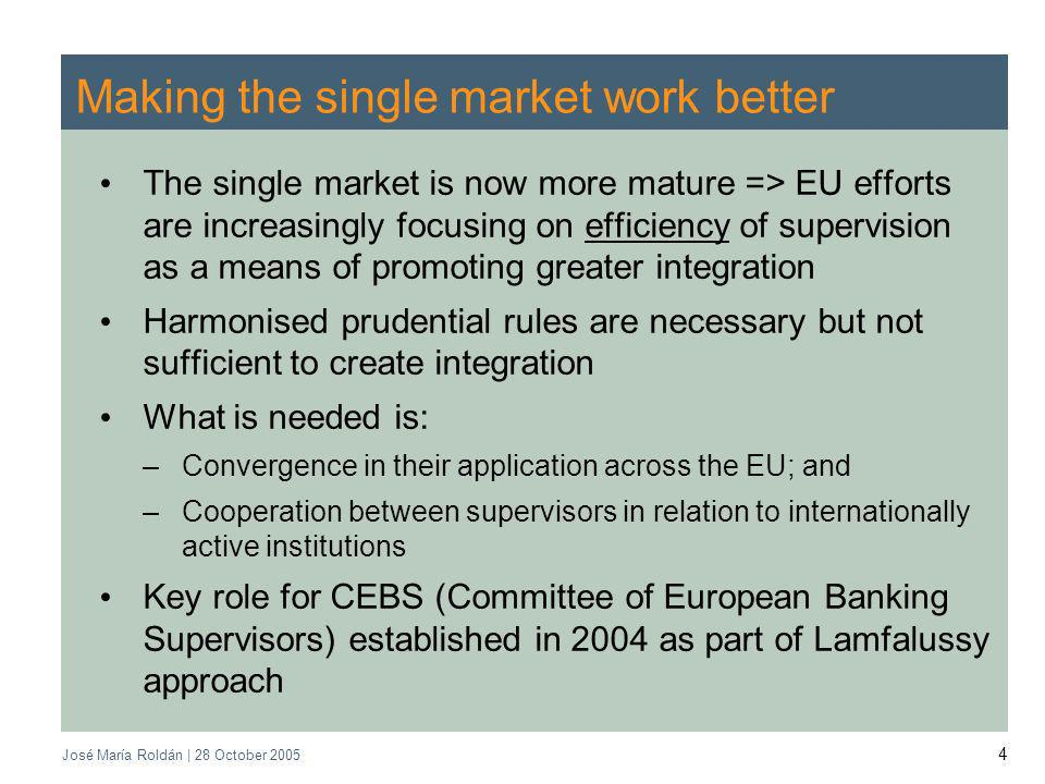 José María Roldán | 28 October 2005 5 Role of CEBS Main tasks: –to give advice to the Commission –to promote consistent implementation of EU legislation –to and enhance convergence of supervisory practices High level representatives from the banking supervisory authorities and central banks of the European Union, including the European Central Bank Objectives: –level playing field and less administrative burden for European banking groups –to streamline information exchange and co-operation between supervisors –Cost-effective and efficient supervision across Europe –Common supervisory culture and approach –Financial stability CEBS functions according to the principle of consensus Consensus is difficult to achieve, but means that decisions have moral weight CEBS is not an executive body, but it has real power