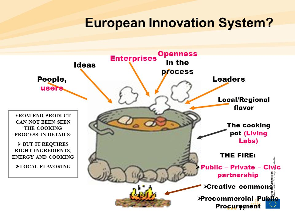 17 European Innovation System? FROM END PRODUCT CAN NOT BEEN SEEN THE COOKING PROCESS IN DETAILS: BUT IT REQUIRES RIGHT INGREDIENTS, ENERGY AND COOKIN