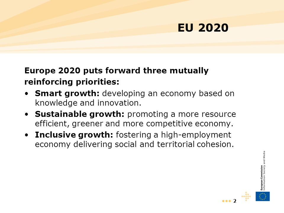 2 EU 2020 Europe 2020 puts forward three mutually reinforcing priorities: Smart growth: developing an economy based on knowledge and innovation. Susta