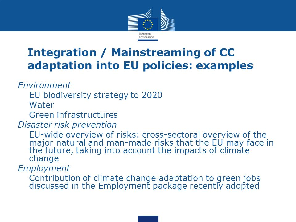 Integration / Mainstreaming of CC adaptation into EU policies: examples Environment EU biodiversity strategy to 2020 Water Green infrastructures Disas