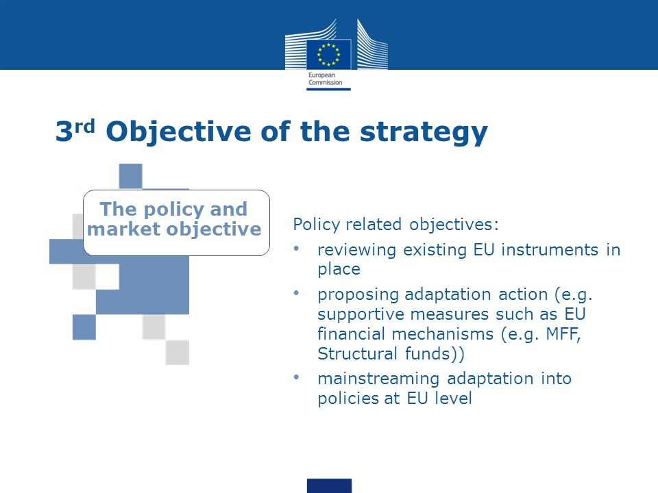 3 rd Objective of the strategy Policy related objectives: reviewing existing EU instruments in place proposing adaptation action (e.g. supportive meas