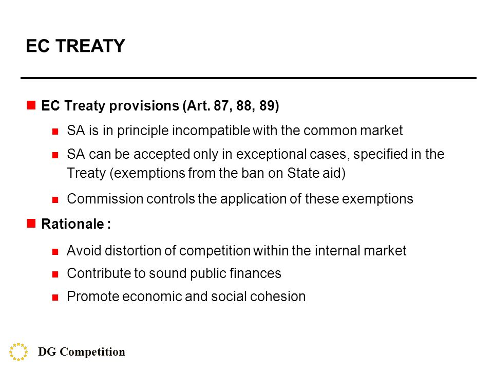 EC TREATY EC Treaty provisions (Art.