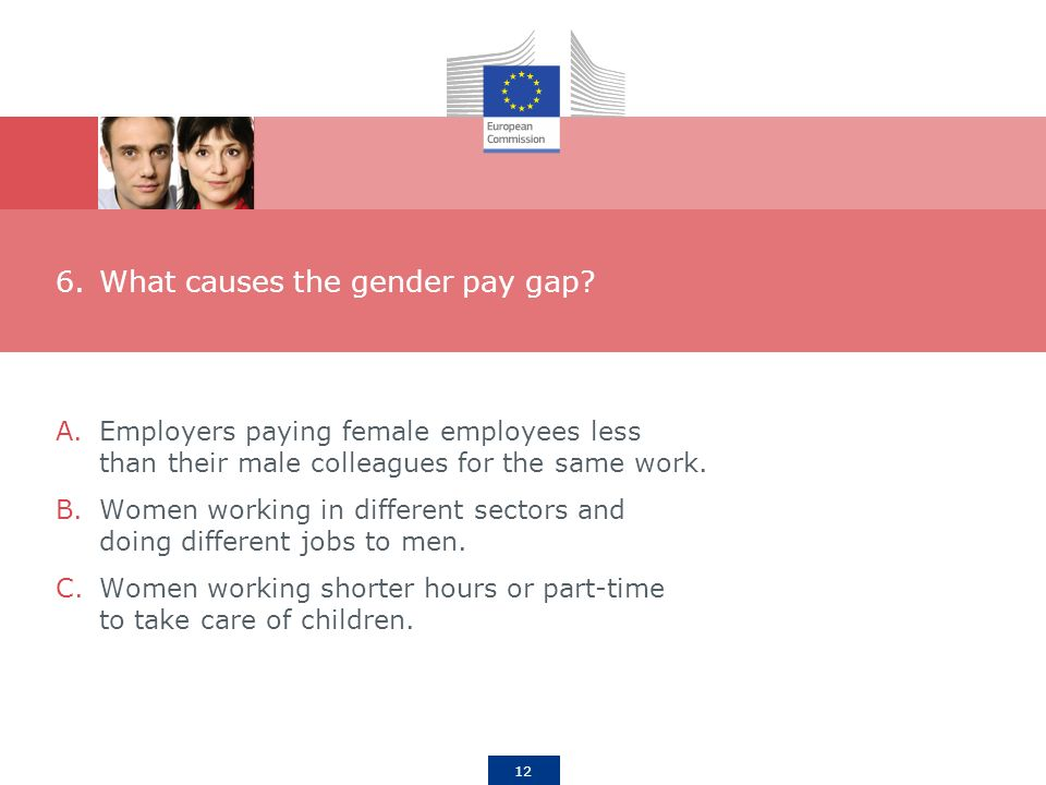 12 6.What causes the gender pay gap.