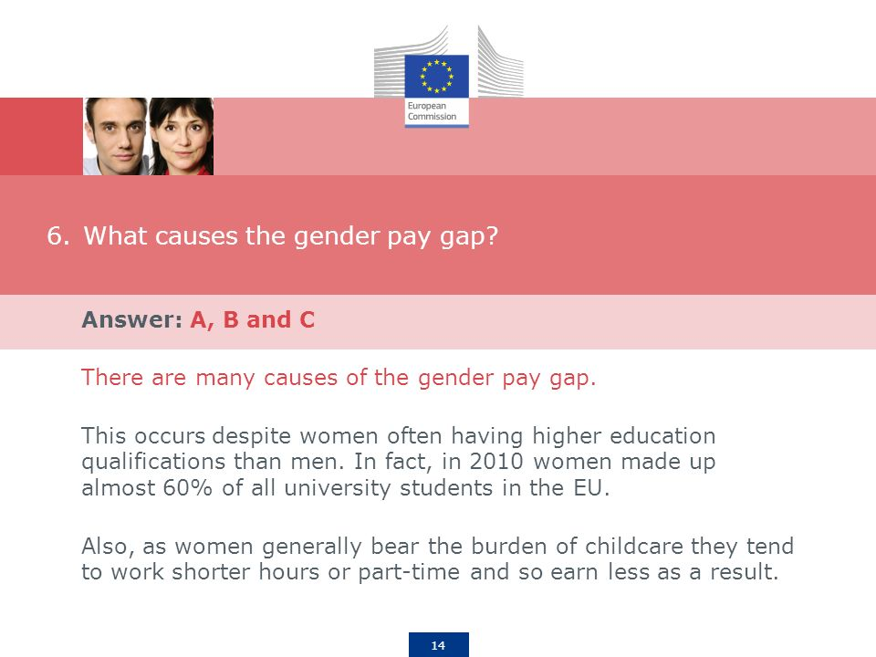 14 6.What causes the gender pay gap.