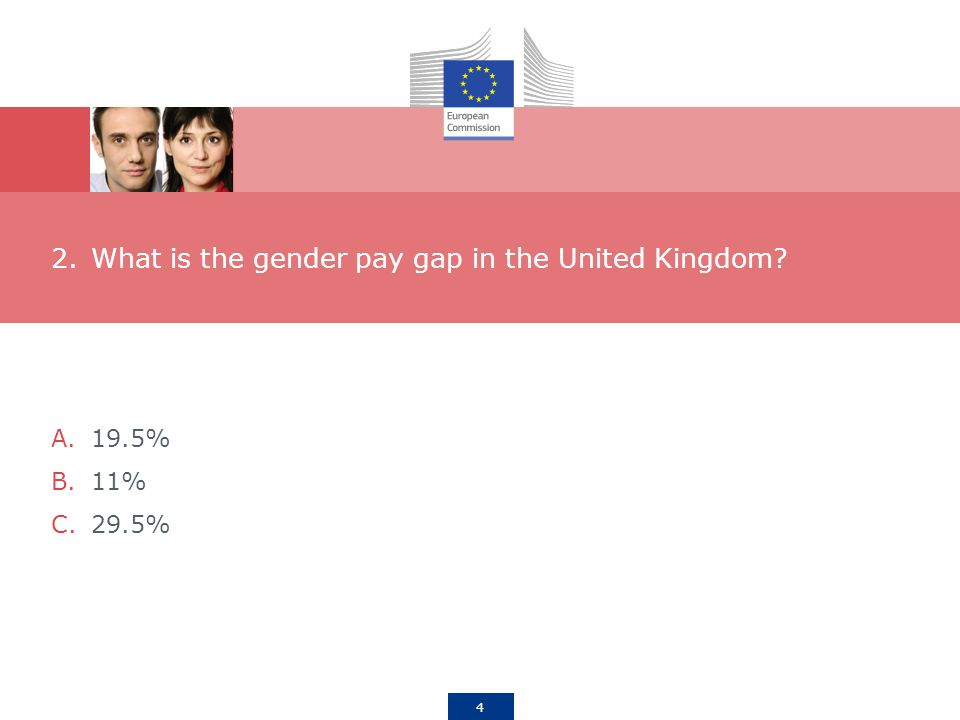 4 2.What is the gender pay gap in the United Kingdom A.19.5% B.11% C.29.5%