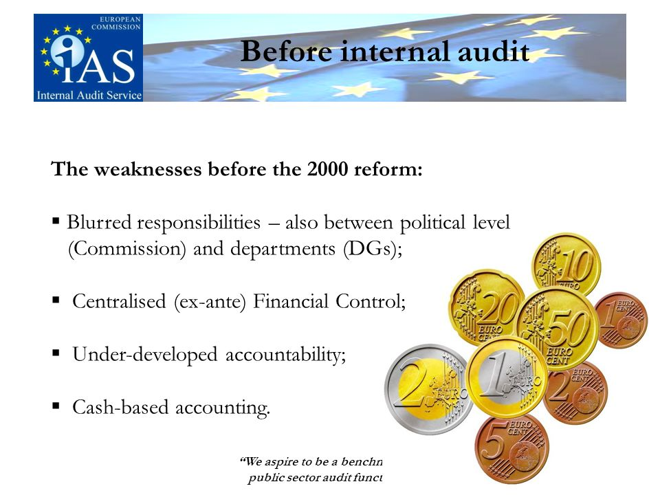 We aspire to be a benchmark for public sector audit functions 5 Before internal audit The weaknesses before the 2000 reform: Blurred responsibilities – also between political level (Commission) and departments (DGs); Centralised (ex-ante) Financial Control; Under-developed accountability; Cash-based accounting.