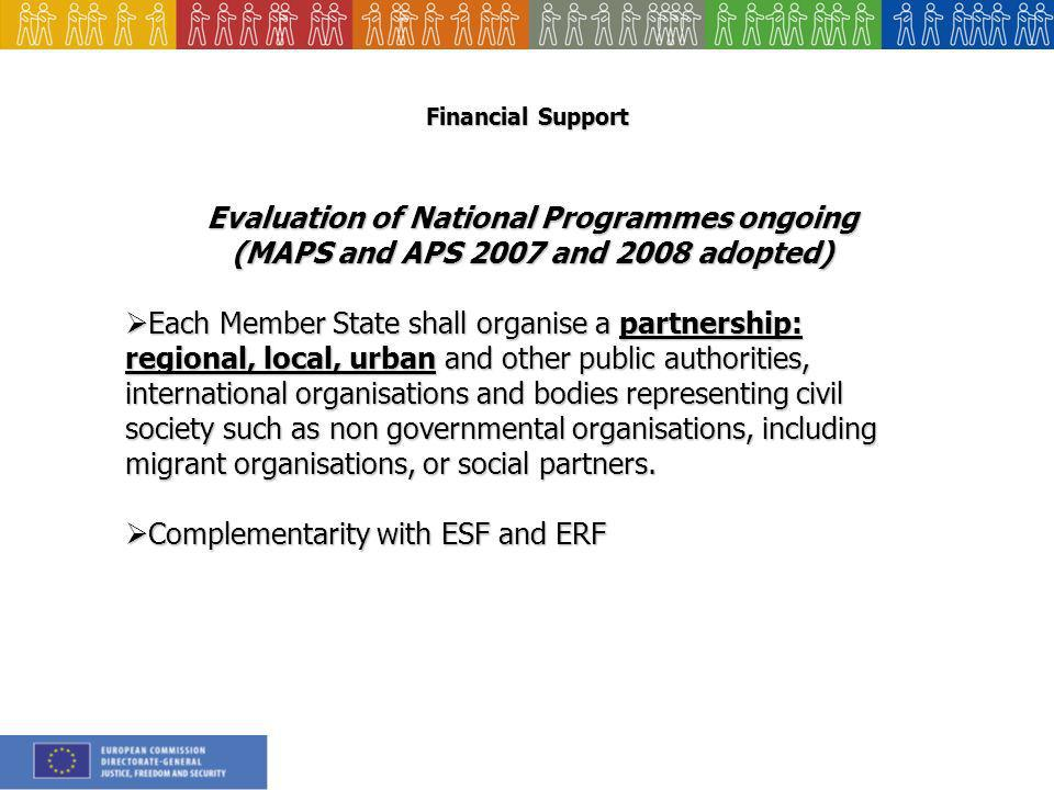 Financial Support Evaluation of National Programmes ongoing (MAPS and APS 2007 and 2008 adopted) Each Member State shall organise a partnership: regional, local, urban and other public authorities, international organisations and bodies representing civil society such as non governmental organisations, including migrant organisations, or social partners.