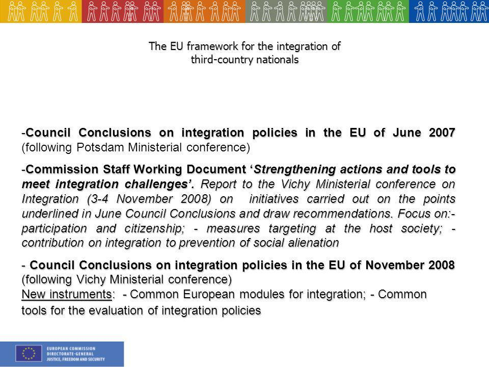 The EU framework for the integration of third-country nationals -Council Conclusions on integration policies in the EU of June Council Conclusions on integration policies in the EU of June 2007 (following Potsdam Ministerial conference) -Commission Staff Working Document Strengthening actions and tools to meet integration challenges.