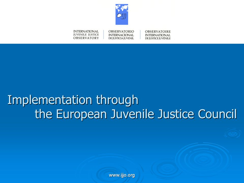 www.ijjo.org Implementation through the European Juvenile Justice Council