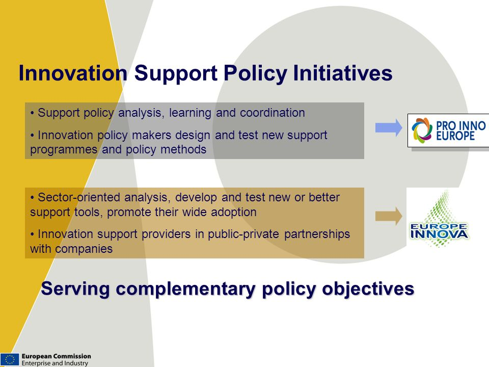 Innovation Support Policy Initiatives erving complementary policy objectives Serving complementary policy objectives Sector-oriented analysis, develop