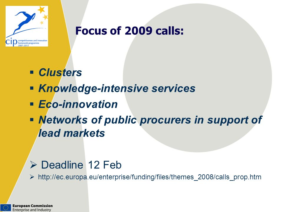 Focus of 2009 calls: Clusters Knowledge-intensive services Eco-innovation Networks of public procurers in support of lead markets Deadline 12 Feb http