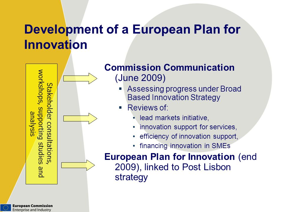 Development of a European Plan for Innovation Commission Communication (June 2009) Assessing progress under Broad Based Innovation Strategy Reviews of