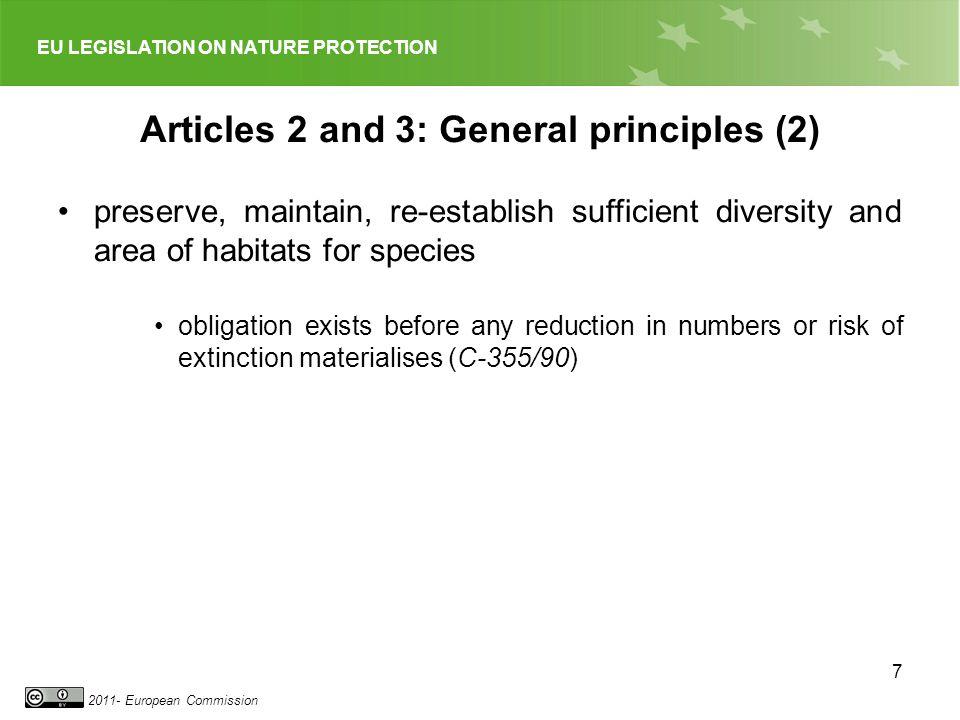 EU LEGISLATION ON NATURE PROTECTION 2011- European Commission 18 Further Articles (2) Art.