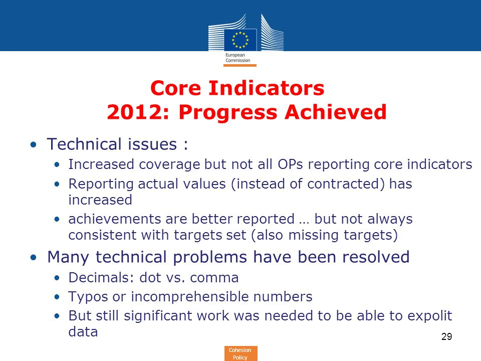 Cohesion Policy Core Indicators 2012: Progress Achieved Technical issues : Increased coverage but not all OPs reporting core indicators Reporting actual values (instead of contracted) has increased achievements are better reported … but not always consistent with targets set (also missing targets) Many technical problems have been resolved Decimals: dot vs.