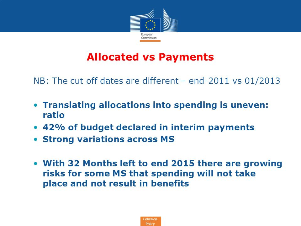 Cohesion Policy Allocated vs Payments NB: The cut off dates are different – end-2011 vs 01/2013 Translating allocations into spending is uneven: ratio 42% of budget declared in interim payments Strong variations across MS With 32 Months left to end 2015 there are growing risks for some MS that spending will not take place and not result in benefits