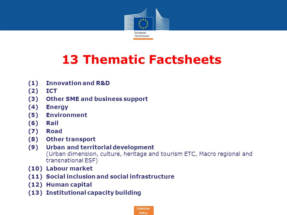 Cohesion Policy (1)Innovation and R&D (2)ICT (3)Other SME and business support (4)Energy (5)Environment (6)Rail (7)Road (8)Other transport (9)Urban and territorial development (Urban dimension, culture, heritage and tourism ETC, Macro regional and transnational ESF) (10)Labour market (11)Social inclusion and social infrastructure (12)Human capital (13)Institutional capacity building 13 Thematic Factsheets