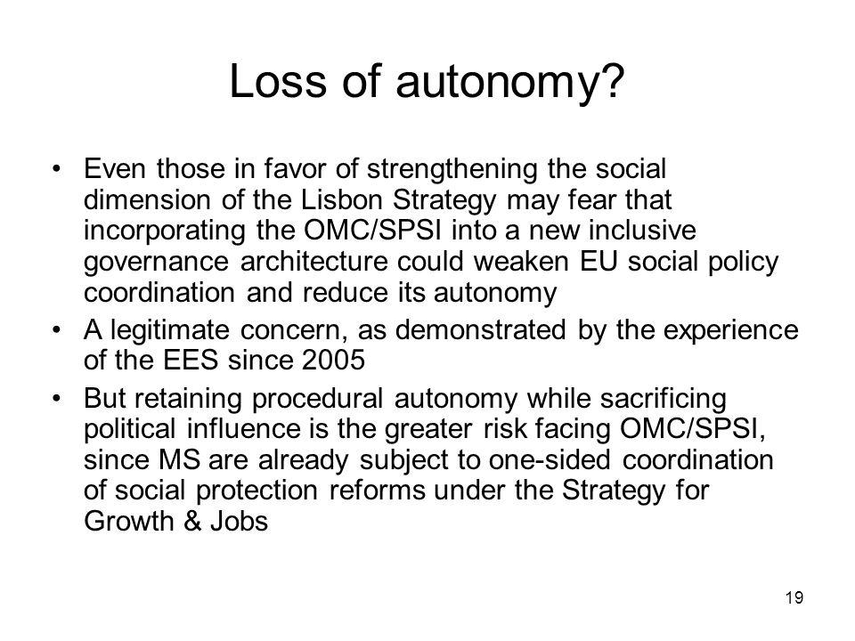 19 Loss of autonomy.
